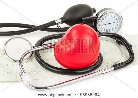 Black tonometer and heart, cardiogram