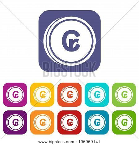 Coins cruzeiro icons set vector illustration in flat style in colors red, blue, green, and other