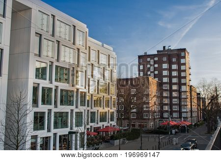 downtown scenery in the city center of Dusseldorf