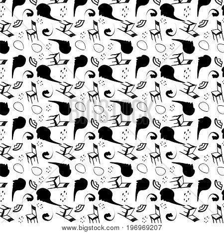 vector surrealism stylized seamless pattern in black-white