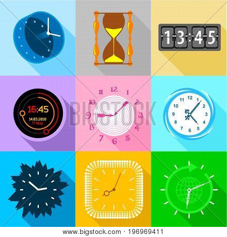 Different clock icons set. Flat set of 9 different clock vector icons for web with long shadow