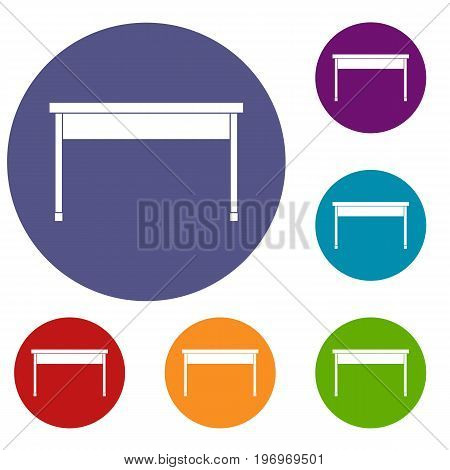 Desk icons set in flat circle red, blue and green color for web
