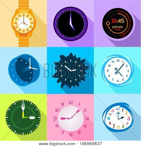 Clock and watch icons set. Flat set of 9 clock and watch vector icons for web with long shadow
