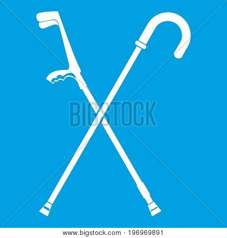 Walking cane icon white isolated on blue background vector illustration