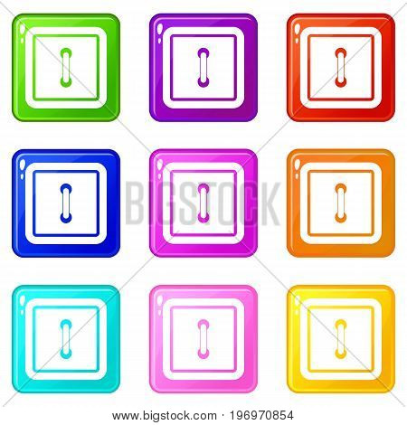 Sewn square button icons of 9 color set isolated vector illustration