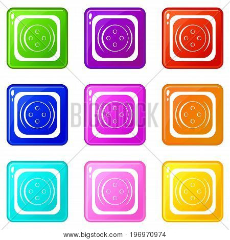 Clothing square button icons of 9 color set isolated vector illustration
