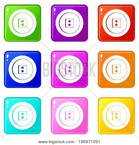 Dress round button icons of 9 color set isolated vector illustration