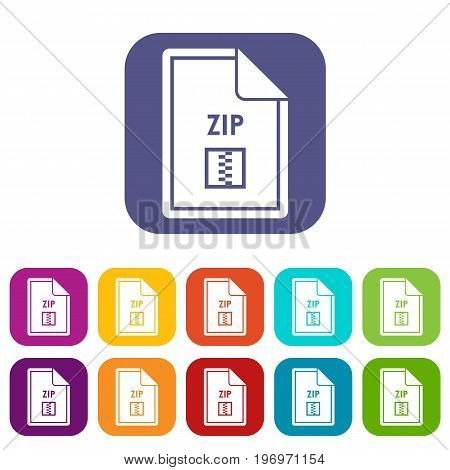 File ZIP icons set vector illustration in flat style in colors red, blue, green, and other