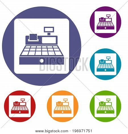 Sale cash register icons set in flat circle red, blue and green color for web