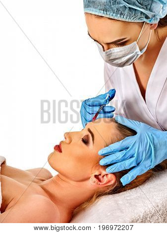 poster of Filler injection for female forehead face. Plastic aesthetic facial surgery in beauty clinic. Beauty woman giving injections. Doctor in medical gloves with red syringe injects cheeks drug. Facelift.