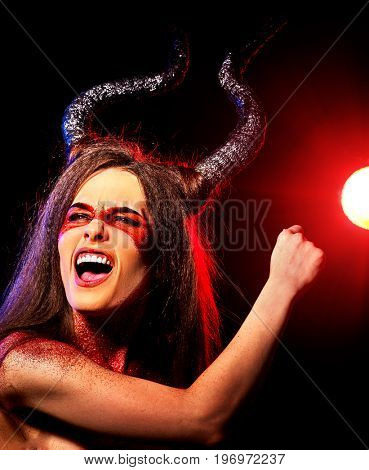Black magic ritual of mad satan woman cry in hell on Halloween. Devil absorbing soul. Mythical zodiac Horoscope Capricorn Aries, Taurus astrology. Visions of drug addict.