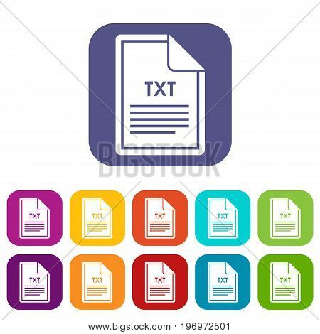 File TXT icons set vector illustration in flat style in colors red, blue, green, and other