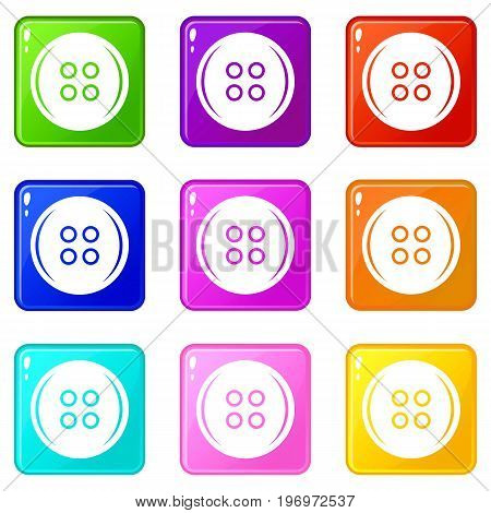 Plastic button icons of 9 color set isolated vector illustration