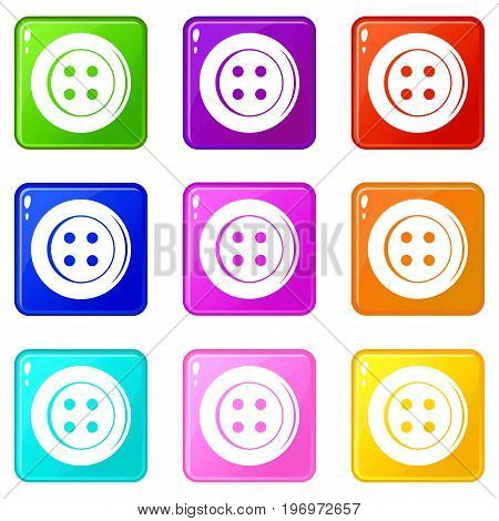 Sewing button icons of 9 color set isolated vector illustration