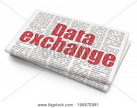 Information concept: Pixelated red text Data Exchange on Newspaper background, 3D rendering