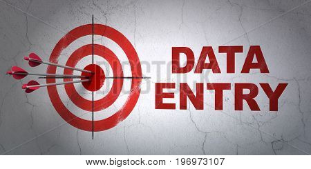 Success Information concept: arrows hitting the center of target, Red Data Entry on wall background, 3D rendering