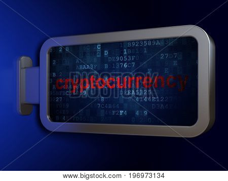 Information concept: Cryptocurrency on advertising billboard background, 3D rendering