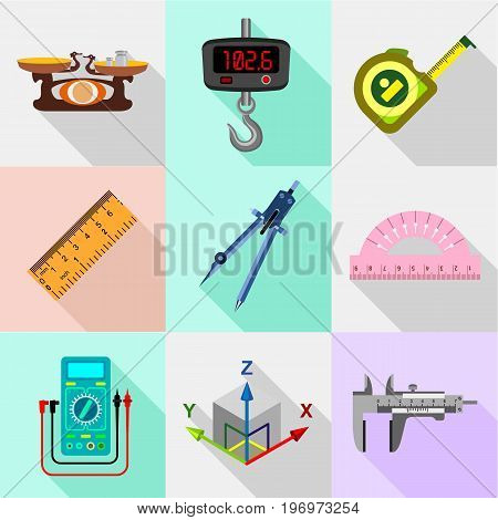 Measure tools icons set. Flat set of 9 measure tools vector icons for web with long shadow