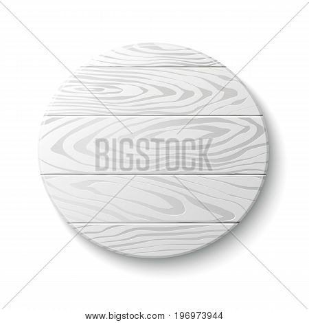 Vector illustration of pale wooden circle isolated on white.