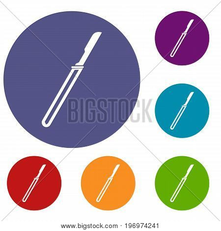Scalpel icons set in flat circle red, blue and green color for web