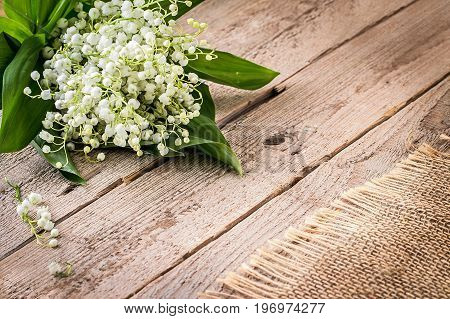Lilly of valley on wooden table. Copy space Top view