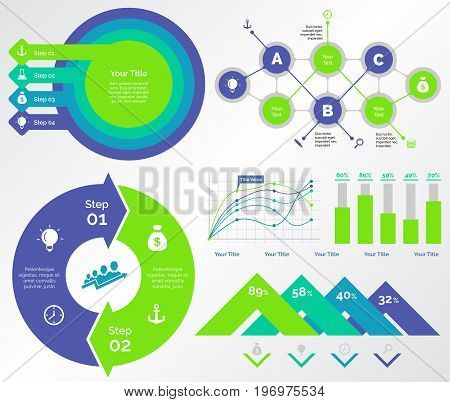 Infographic design set can be used for workflow layout, diagram, annual report, presentation, web design. Business and banking concept with process, line, bar and percentage charts.