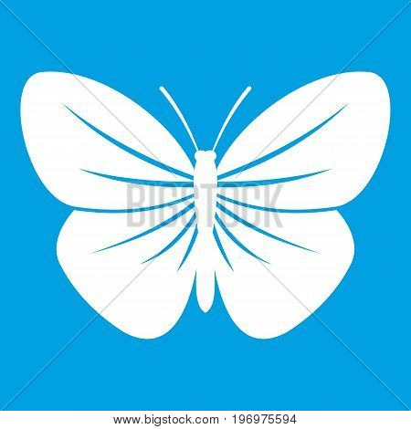Black butterfly icon white isolated on blue background vector illustration