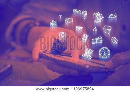Close Up Woman Using Mobile Phone With Online Shopping Icon Features, Digital Lifestyle Concept,duot