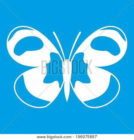 Spotted butterfly icon white isolated on blue background vector illustration