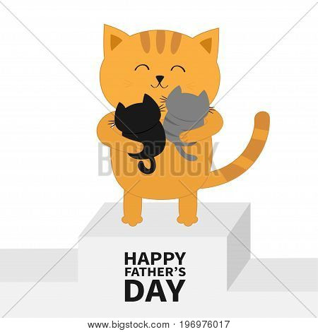 Happy Fathers day. Cat hugging baby kitten. Kittens on hands. Winner stand First place podium pedistal. Kitty hug. Animal family. Cute cartoon pet character set. Flat design White background. Vector
