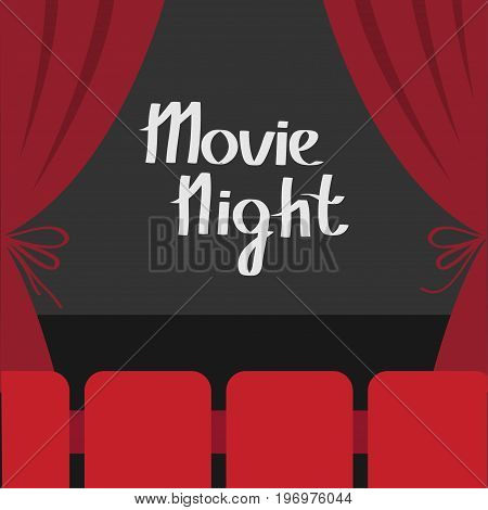 Open luxury red silk stage theatre curtain. Velvet scarlet curtains with bow. Seats hall. Dark stage. Film screen. Movie night. Cinema premiere. Flat design. White background. Vector illustration