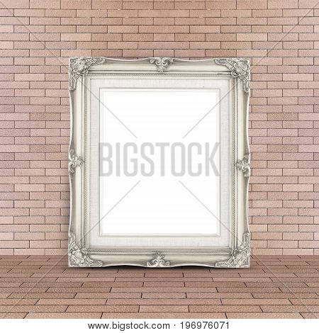Blank Vintage White Picture Frame Leaning At Red Brick Floor And Wall, Template Mock Up For Adding Y