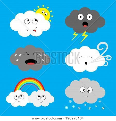 Cloud emoji icon set. Sun rainbow rain drop wind thunderbolt storm lightning. White gray color. Fluffy clouds. Cute cartoon cloudscape. Different emotion. Flat design. Blues sky background Vector