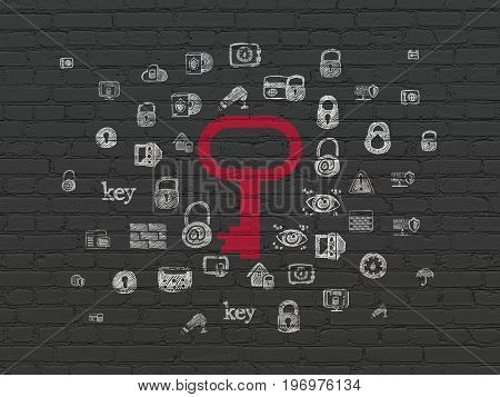 Security concept: Painted red Key icon on Black Brick wall background with  Hand Drawn Security Icons
