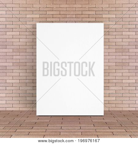 White Poster Leaning At Red Brick Floor And Wall, Template Mock Up For Adding Your Design And Conten