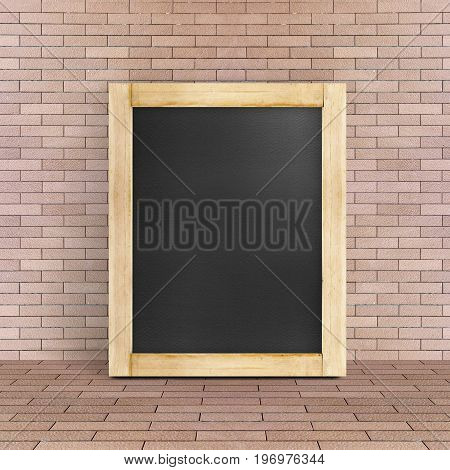 Empty Blackboard Leaning At Red Brick Floor And Wall, Template Mock Up For Adding Your Design And Le
