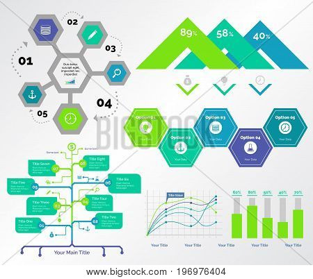 Infographic design set can be used for workflow layout, diagram, annual report, presentation, web design. Business and consulting concept with process, flow, line, bar and percentage charts.