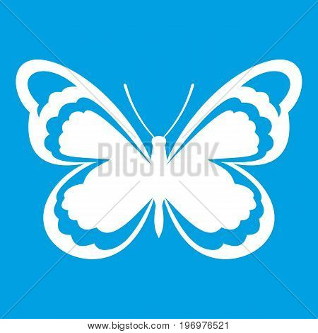 Small butterfly icon white isolated on blue background vector illustration