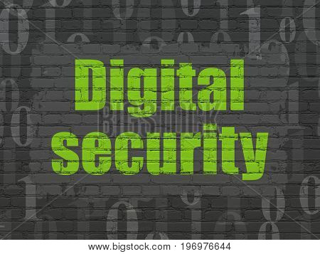 Privacy concept: Painted green text Digital Security on Black Brick wall background with  Binary Code