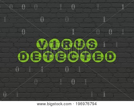 Privacy concept: Painted green text Virus Detected on Black Brick wall background with Binary Code