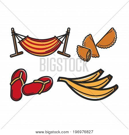 Vector illustration of hammock with flip-flops and different food.