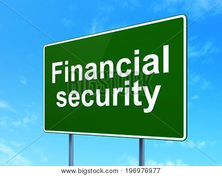 Security concept: Financial Security on green road highway sign, clear blue sky background, 3D rendering