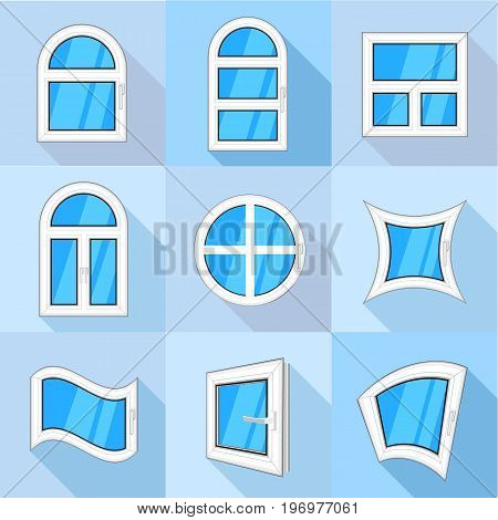 Plastic windows icons set. Flat set of 9 plastic windows vector icons for web with long shadow