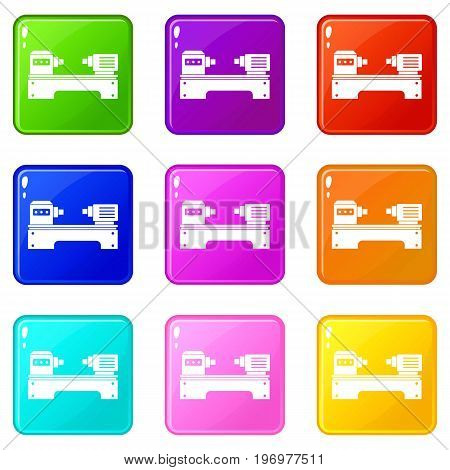 Lathe machine icons of 9 color set isolated vector illustration
