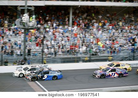 July 23, 2017 - Speedway, IN, USA: Brad Keselowski (2)  leads the field during the Brantley Gilbert Big Machine Brickyard 400 at Indianapolis Motor Speedway in Speedway, IN.