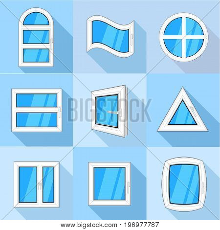 Types of window icons set. Flat set of 9 types of window vector icons for web with long shadow