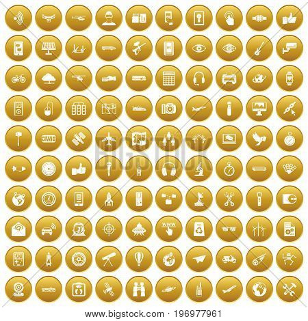 100 wireless technology icons set in gold circle isolated on white vector illustration