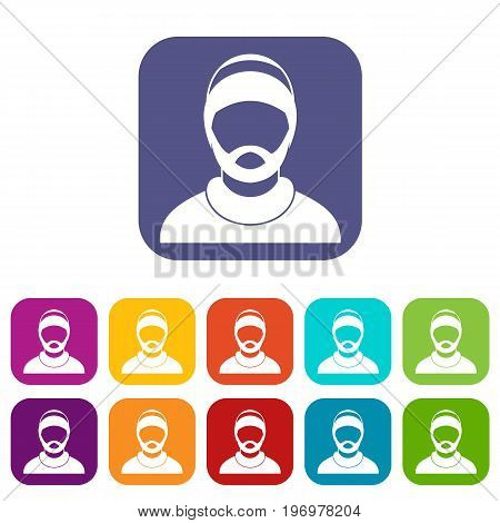Bearded man avatar icons set vector illustration in flat style in colors red, blue, green, and other