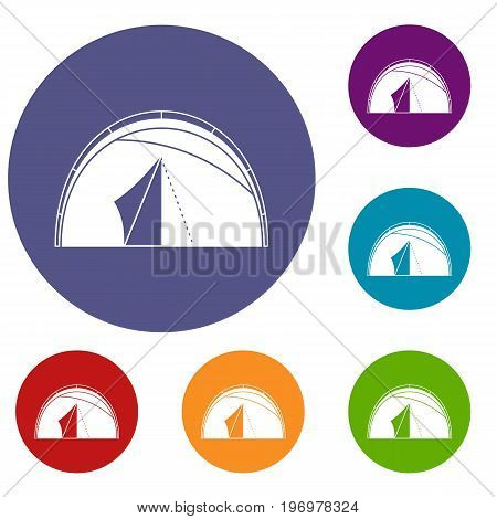 Dome tent icons set in flat circle red, blue and green color for web