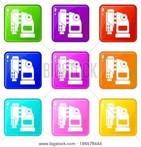 Pneumatic hammer machine icons of 9 color set isolated vector illustration